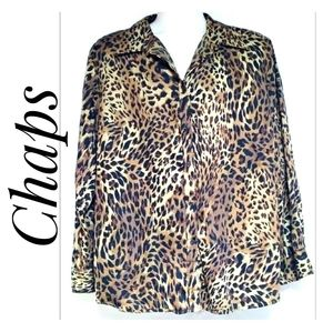 Woman's Long Sleeve Leopard Print Top by Chaps 3X